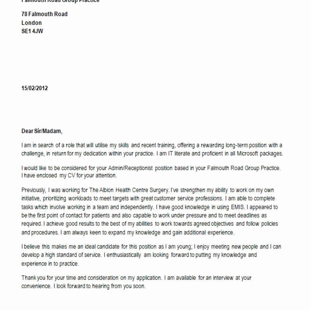 Best Cover Letter for Receptionist Position – Letter
