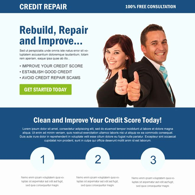 Best Credit Repair Service Landing Page Design Templates
