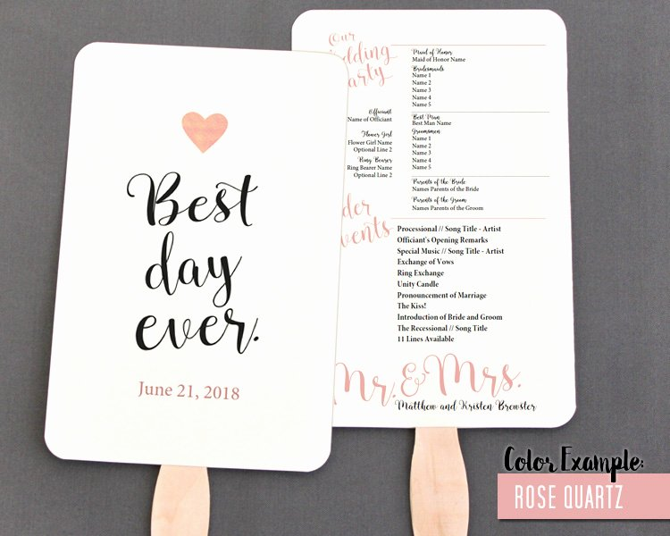 Best Day Ever Wedding Program Fan Warm Colors