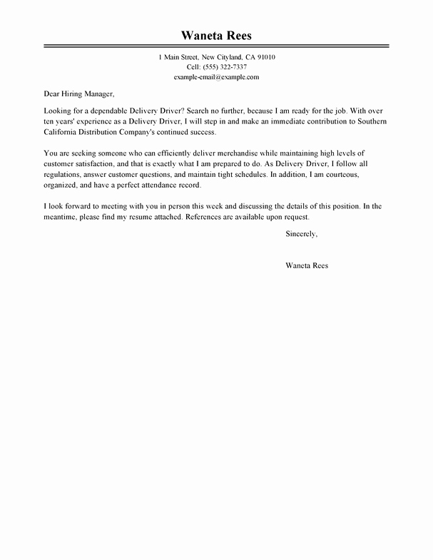 Best Delivery Driver Cover Letter Examples