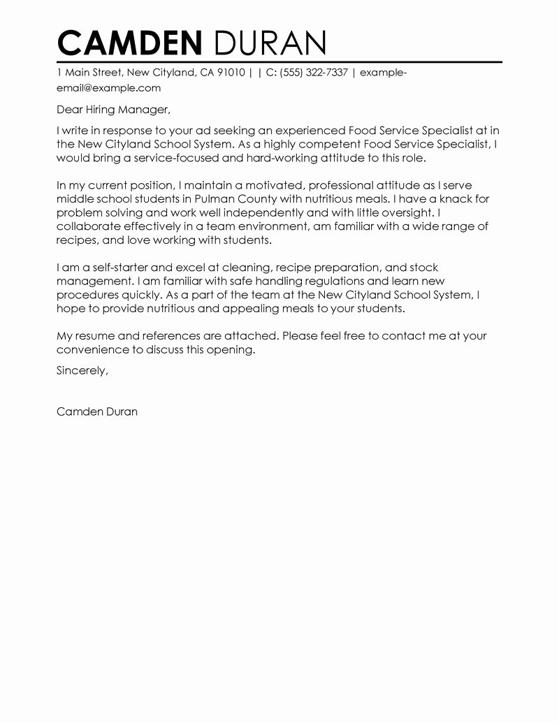Best Education Food Specialist Cover Letter Examples
