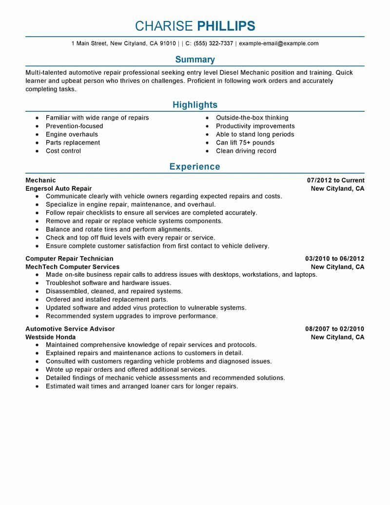 Best Entry Level Mechanic Resume Example