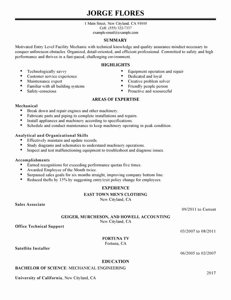 Best Entry Level Mechanic Resume Example