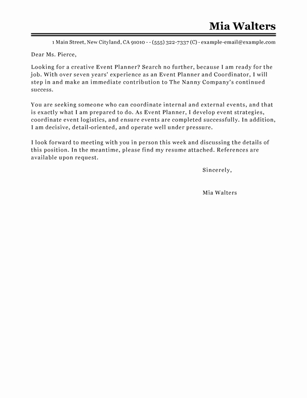 Best event Planner Cover Letter Examples
