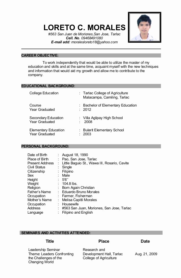 Best Example Resume In the Philipines High School