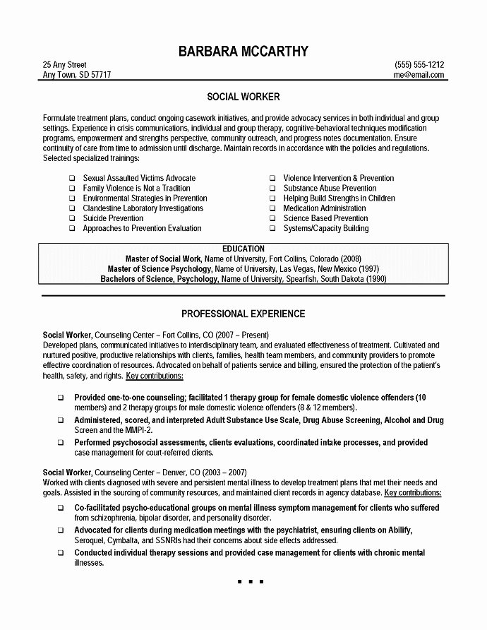 Best Example social Work Resume format Template Microsoft