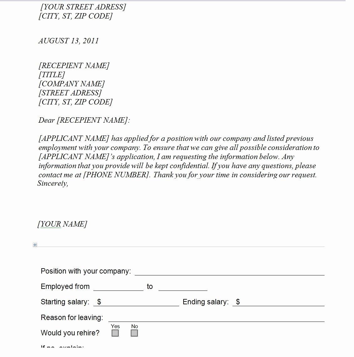 Best Examples Of Employment Verification Letter Vatansun