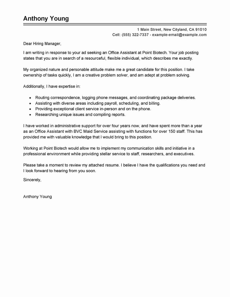 Best Fice assistant Cover Letter Examples