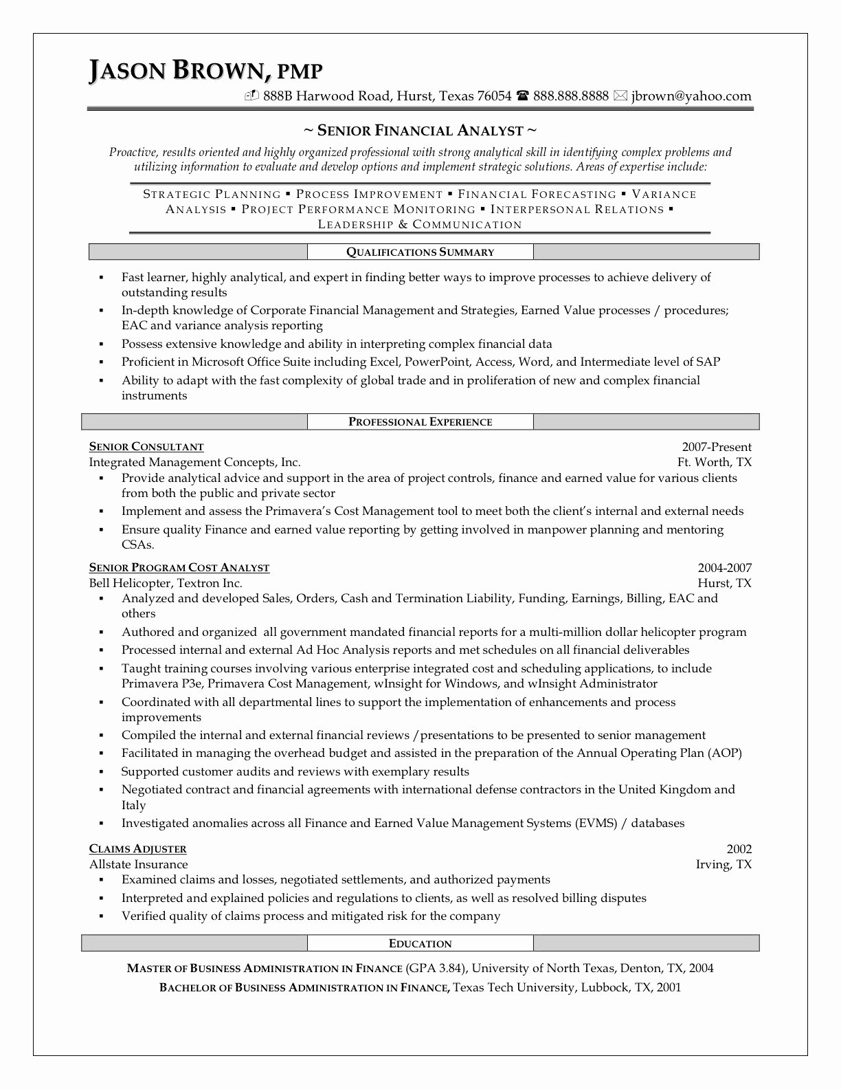 Best Financial Analyst Job Resume Sample