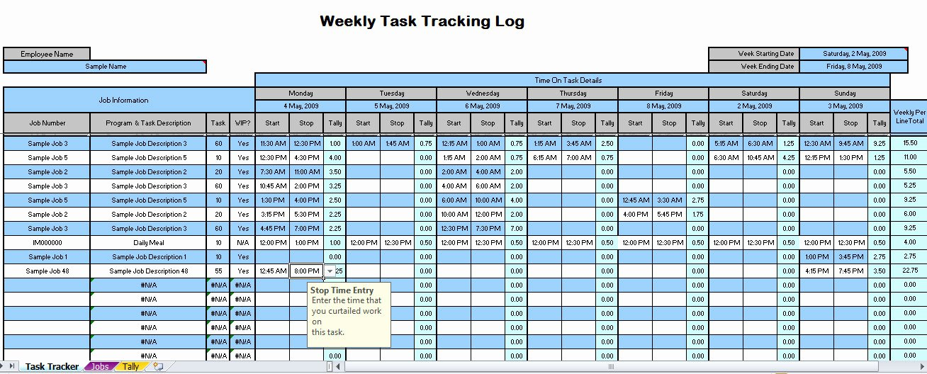 Best Free Time Management Spreadsheet