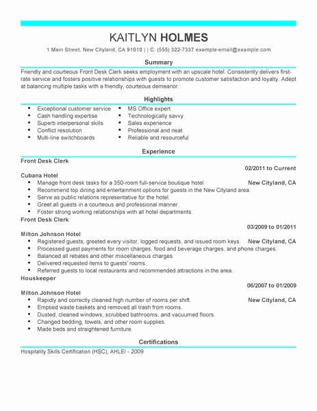 Best Front Desk Clerk Resume Example