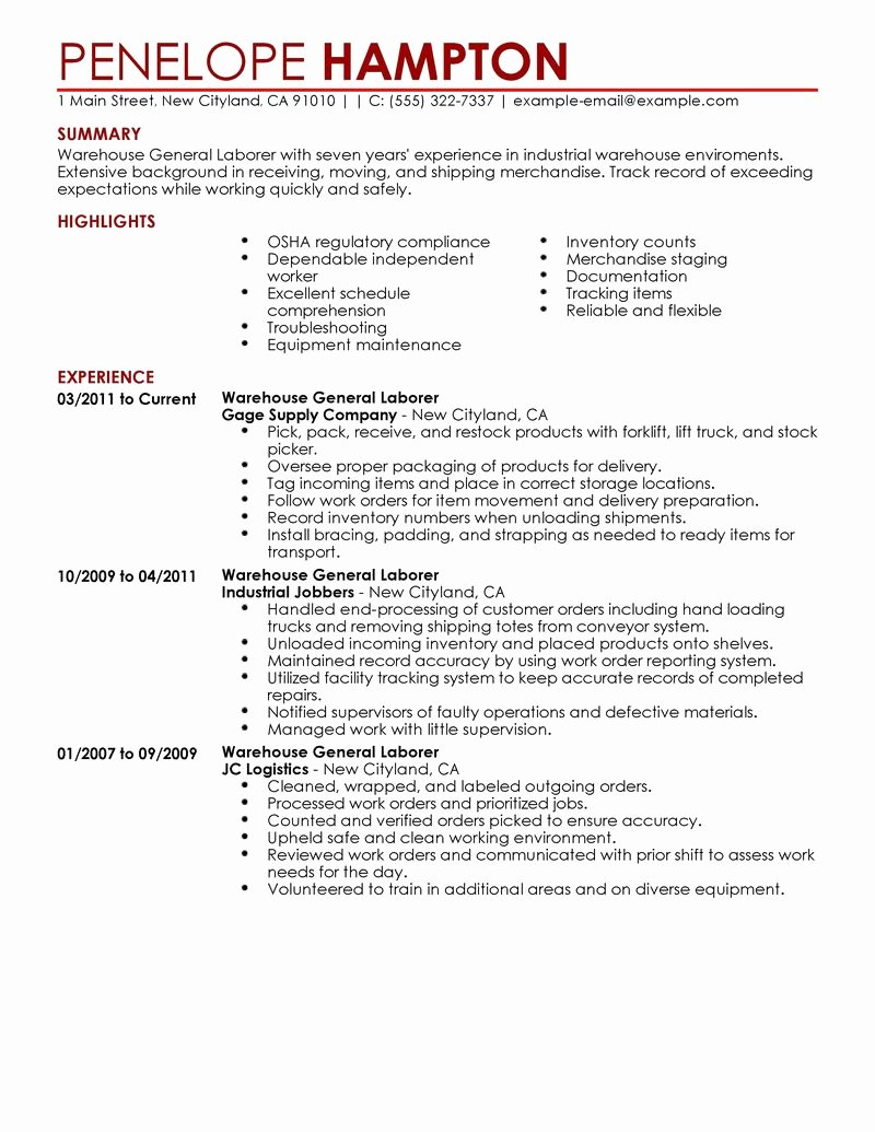 Best General Labor Resume Example