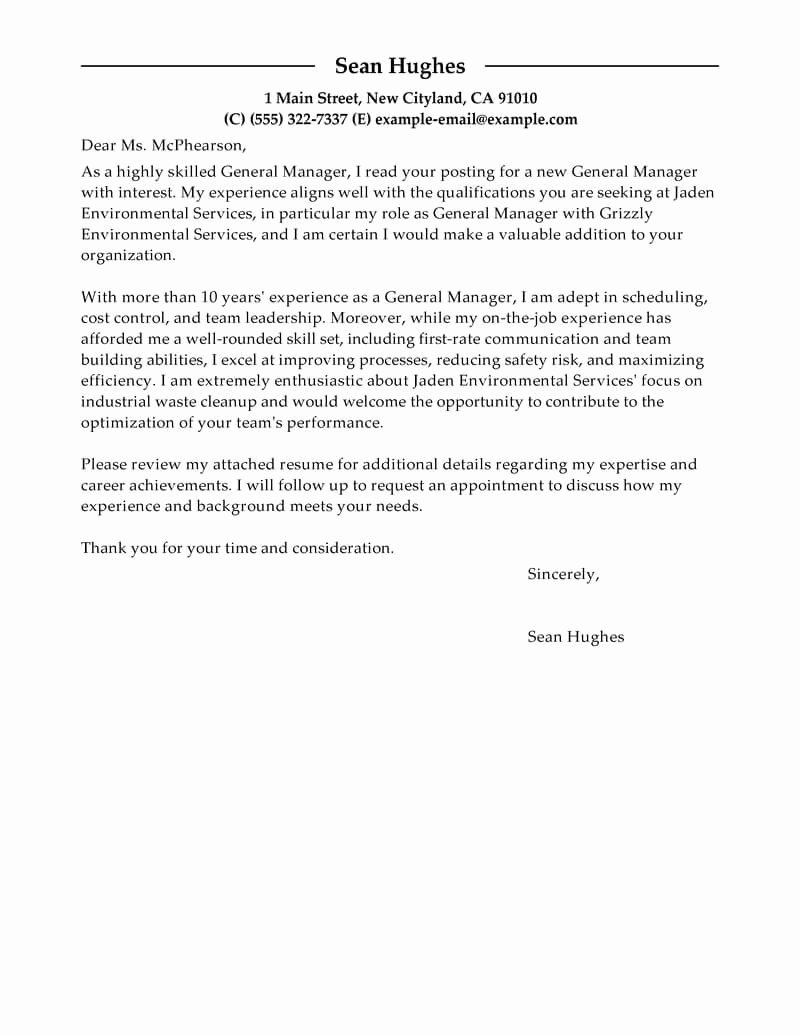 Best General Manager Cover Letter Examples