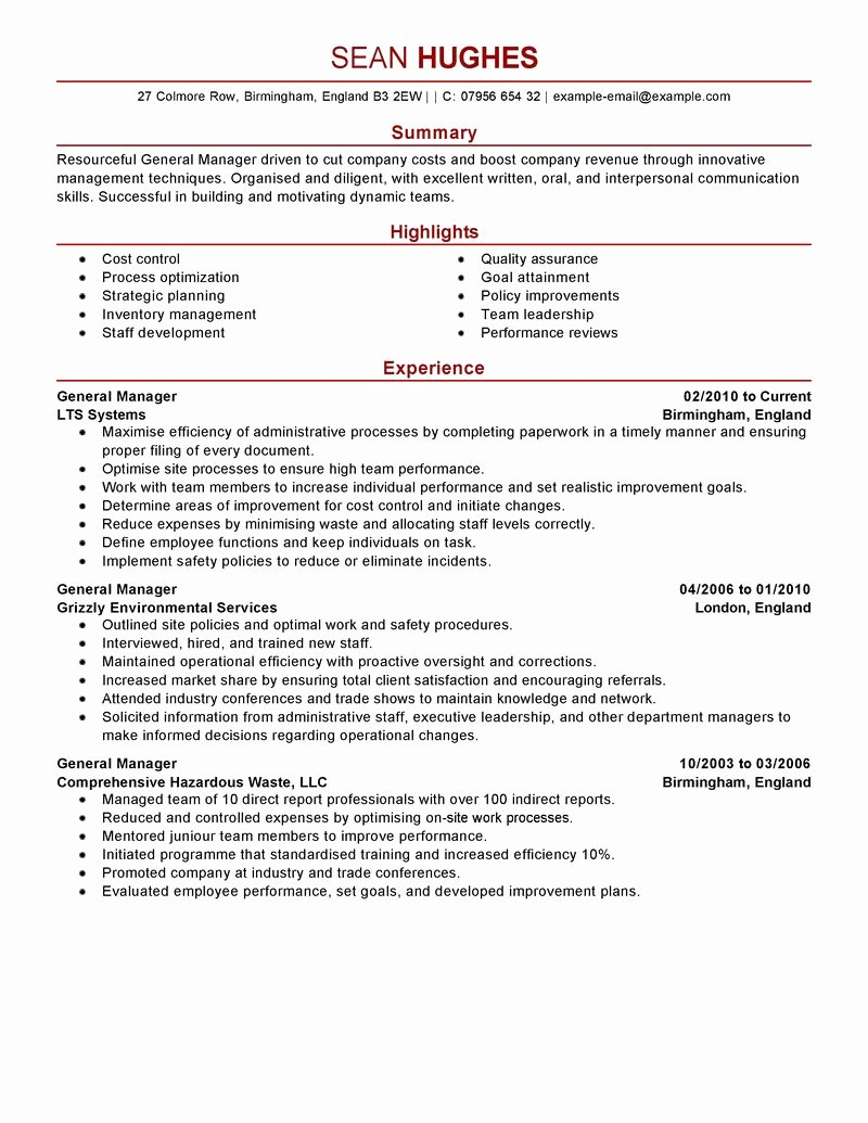 Best General Manager Resume Example