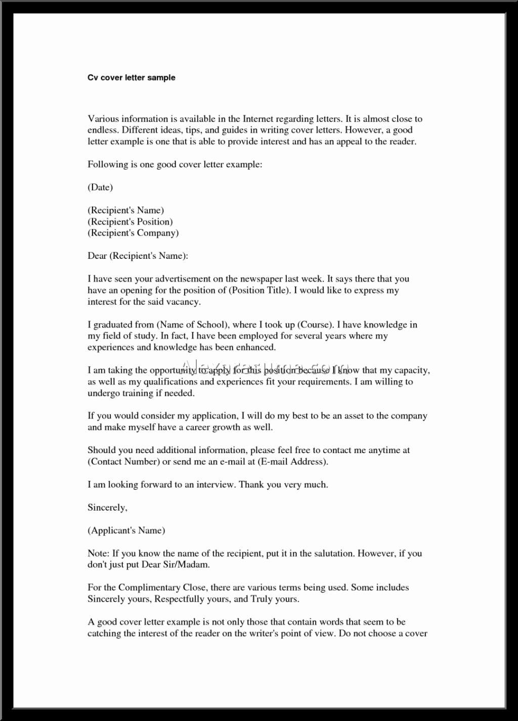 Best Good Cover Letter for Resume – Letter format Writing