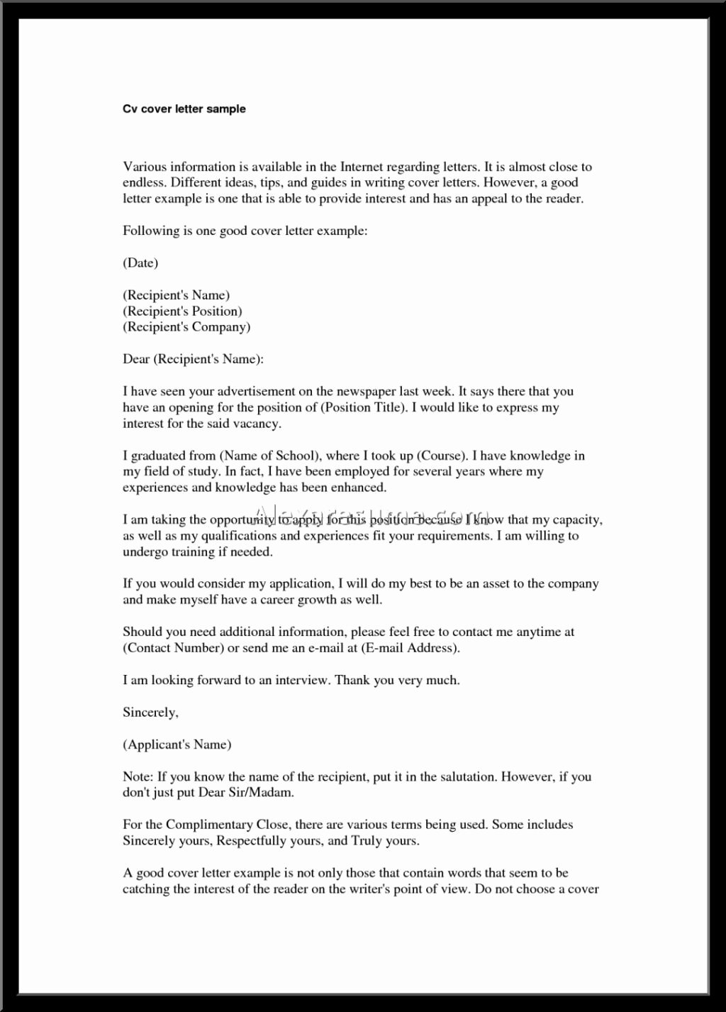 Best Good Cover Letter for Resume – Letter format Writing