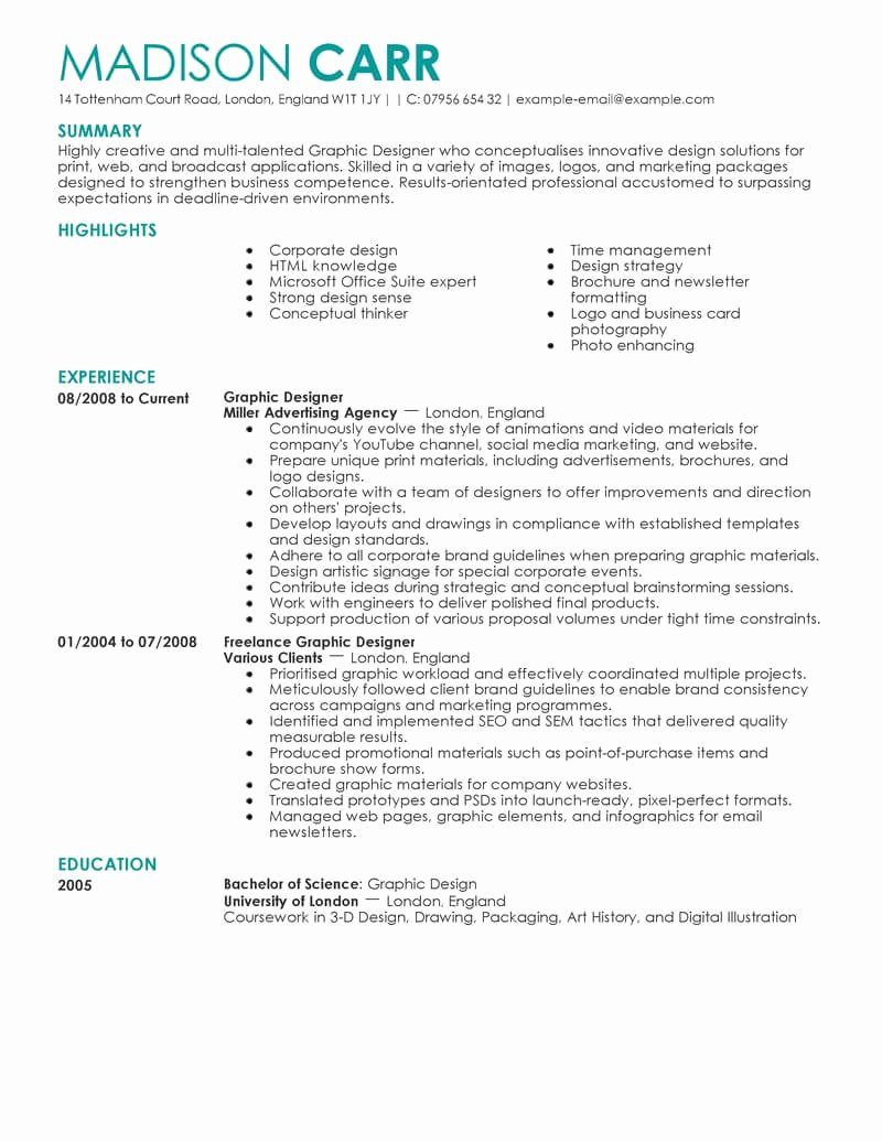 Best Graphic Designer Resume Example