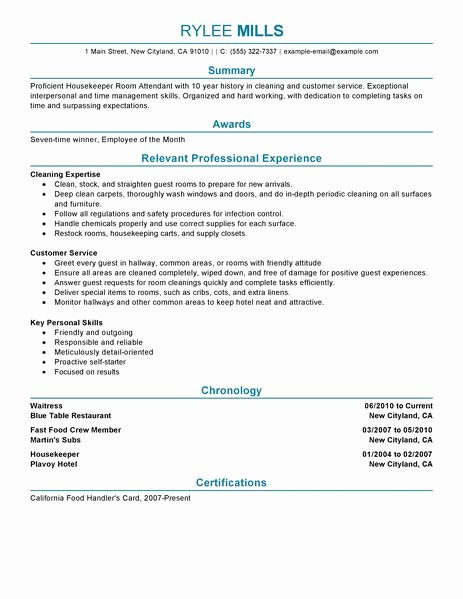 Best Housekeeper Room attendant Resume Example