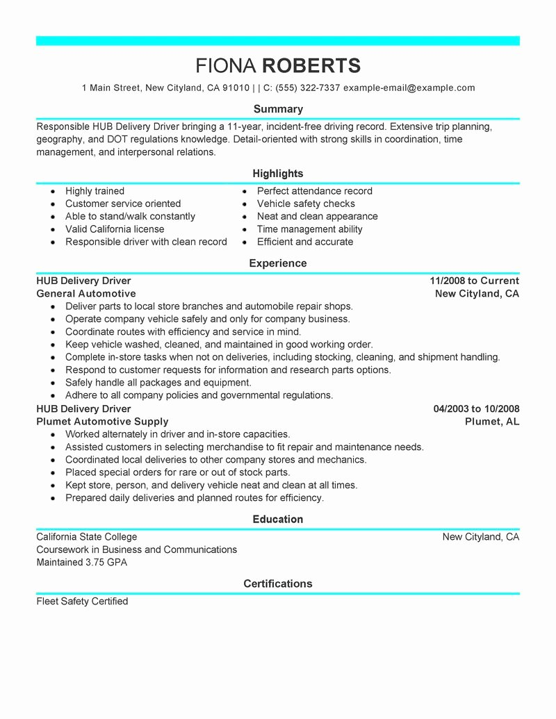 Best Hub Delivery Driver Resume Example