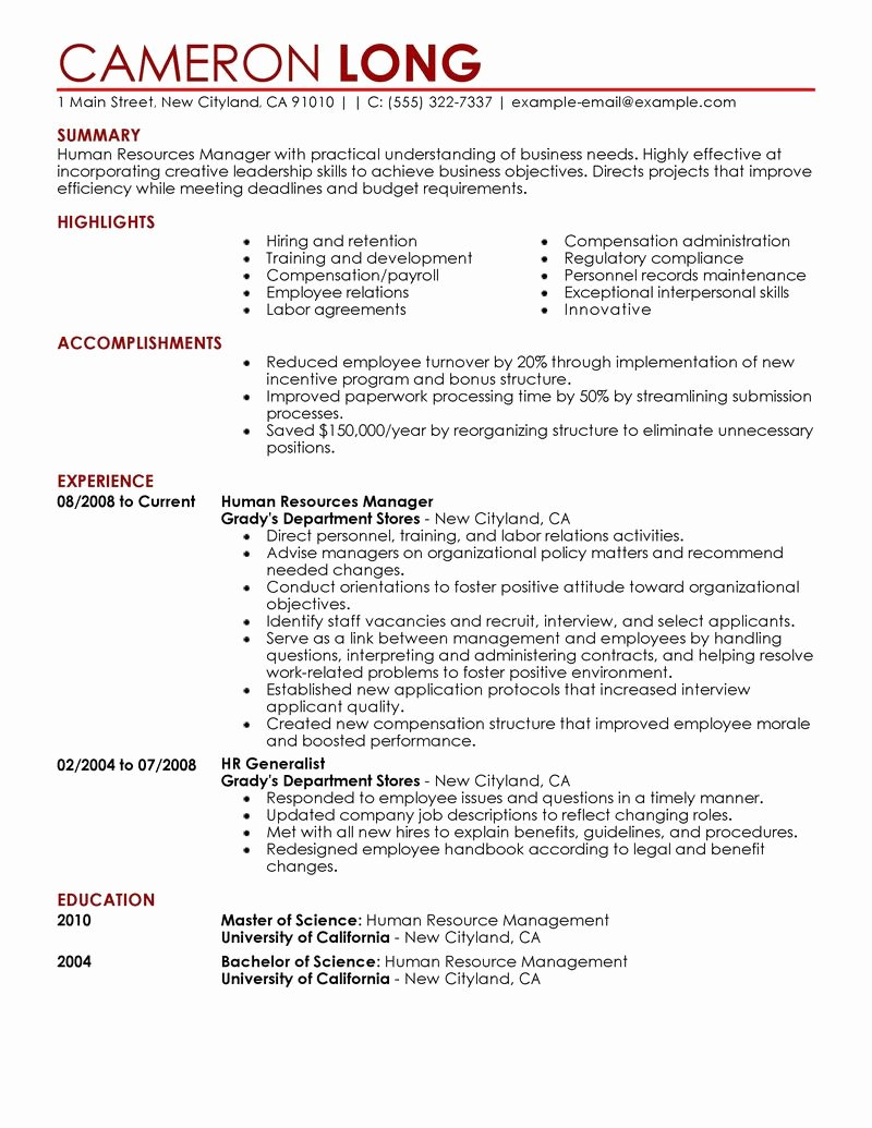 Best Human Resources Manager Resume Example
