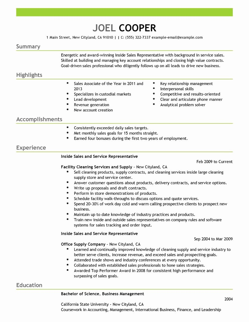 Best Inside Sales Resume Example