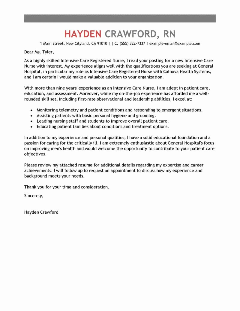 Best Intensive Care Nurse Cover Letter Examples