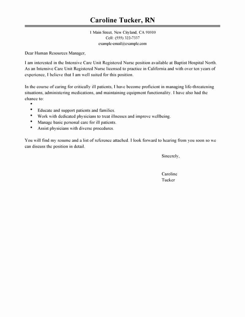 Best Intensive Care Unit Registered Nurse Cover Letter