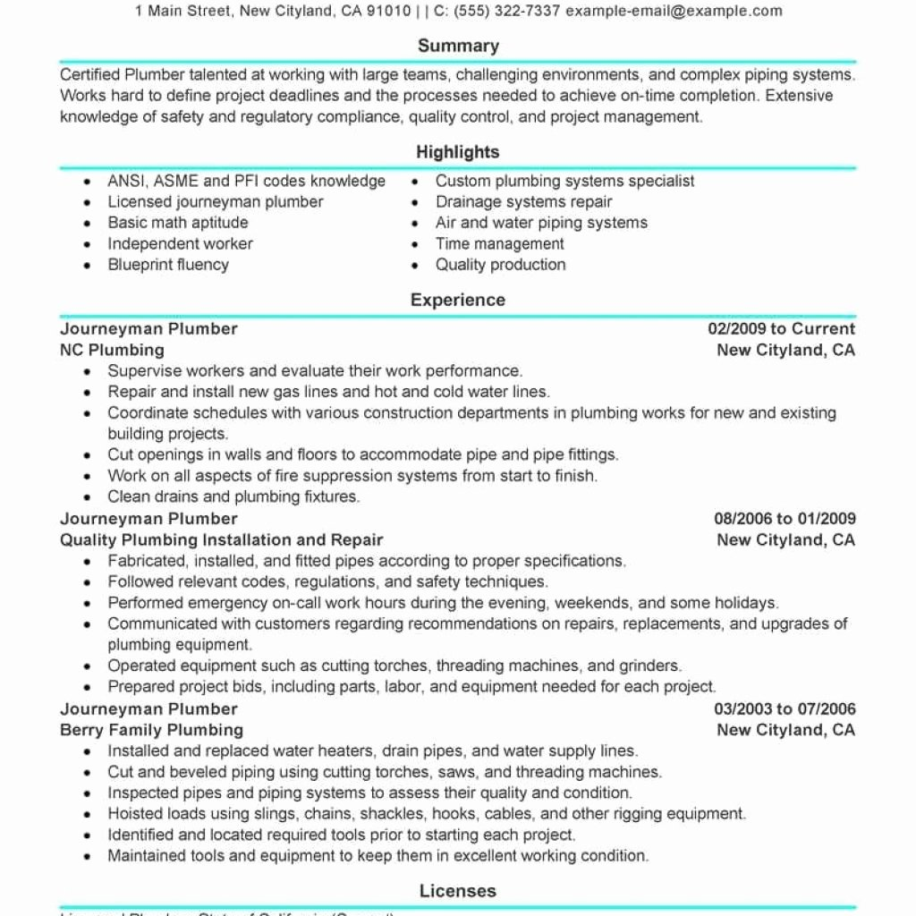 Best Journeymen Plumbers Resume Example