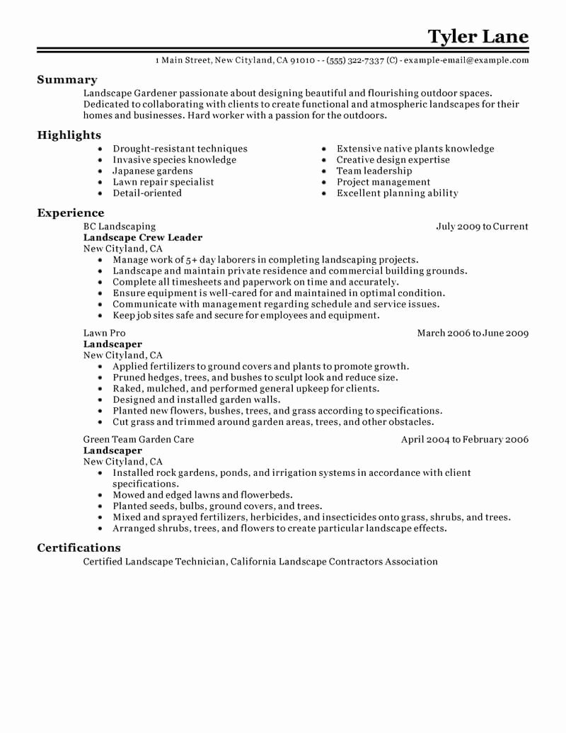 Best Landscaping Resume Example