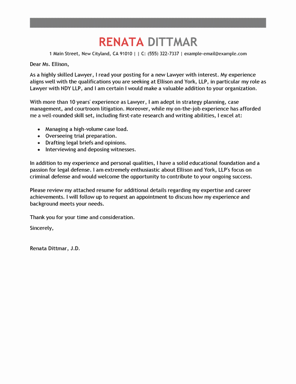 Best Lawyer Cover Letter Examples