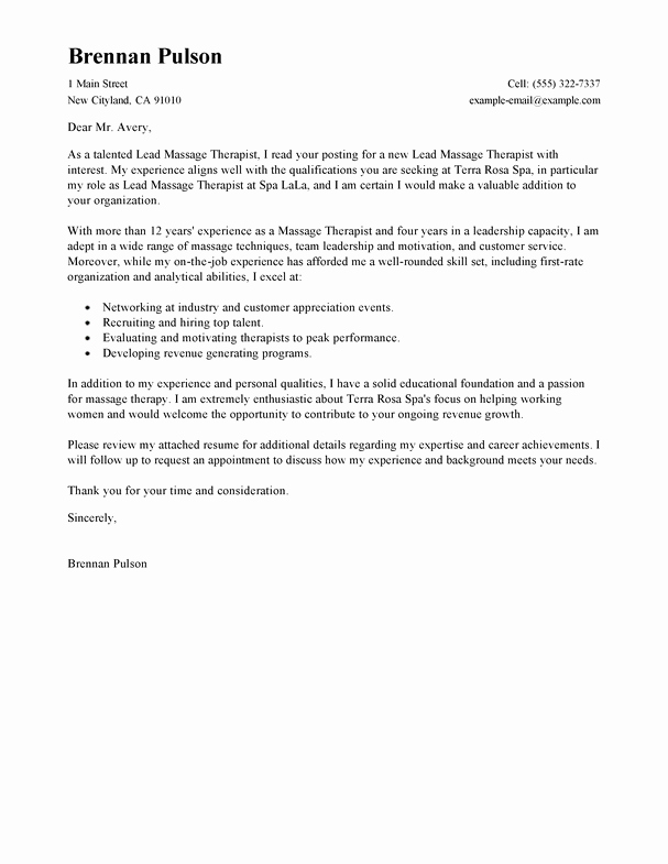 Best Lead Massage therapist Cover Letter Examples