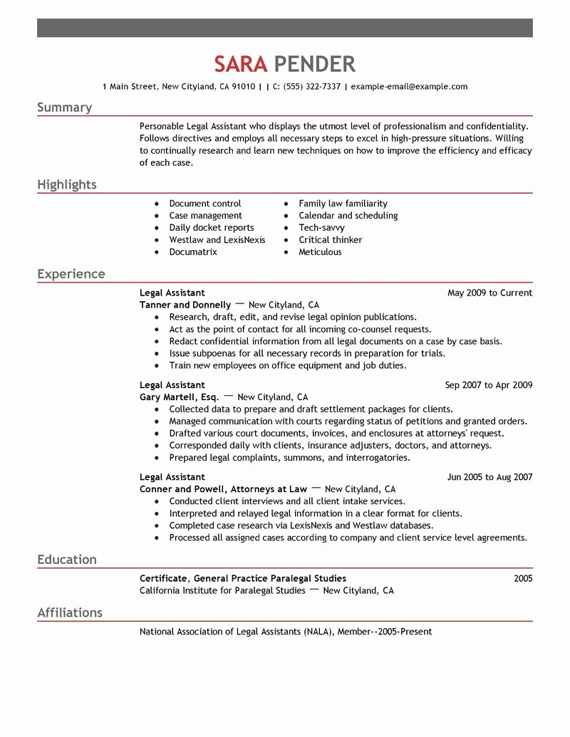 Best Legal assistant Resume Example