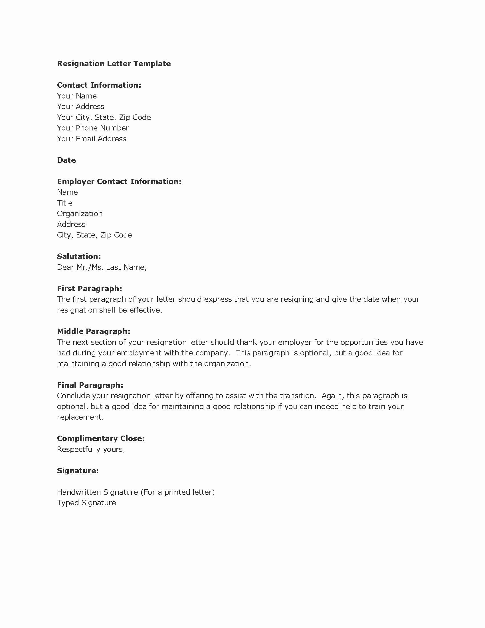 Best Letter Of Resignation Template
