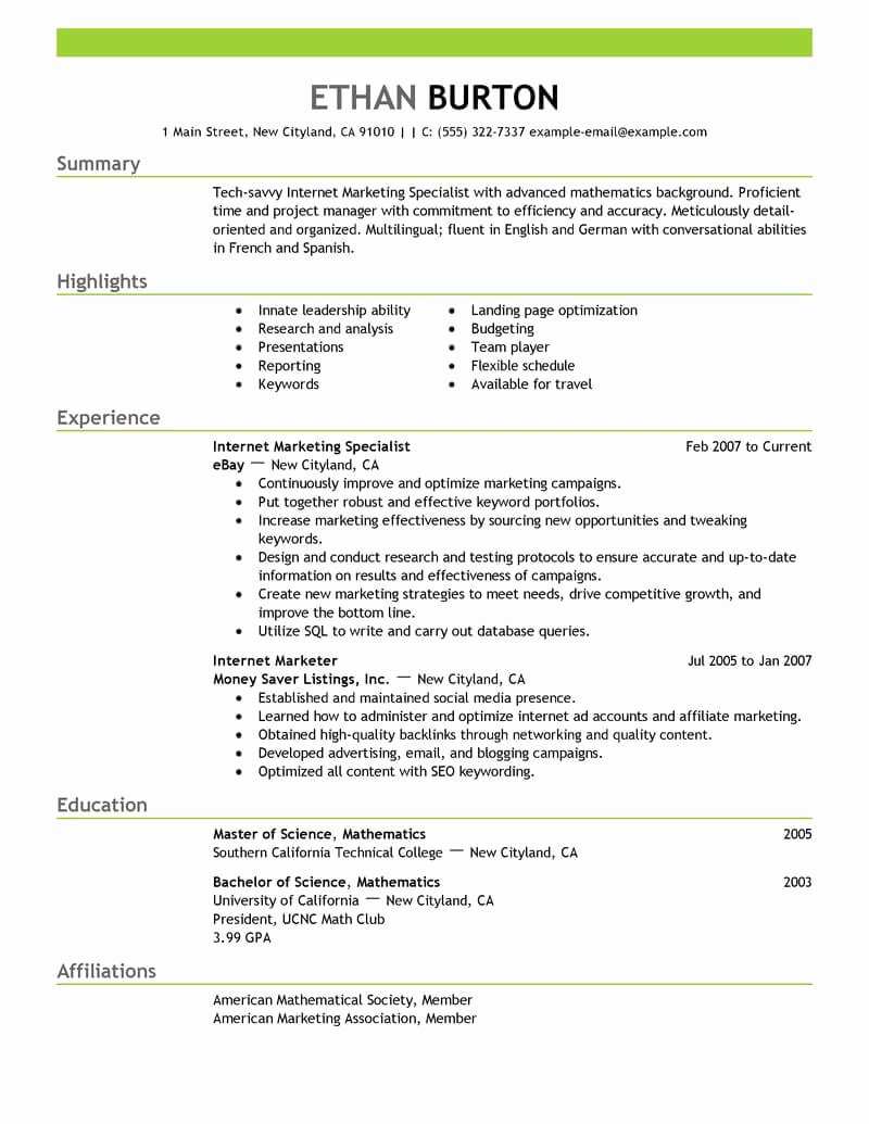 Best Line Marketer and social Media Resume Example