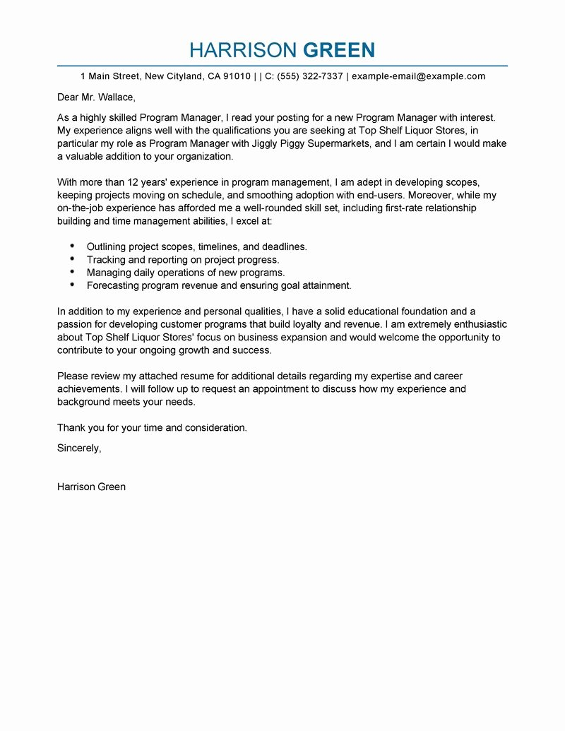 Best Management Cover Letter Examples