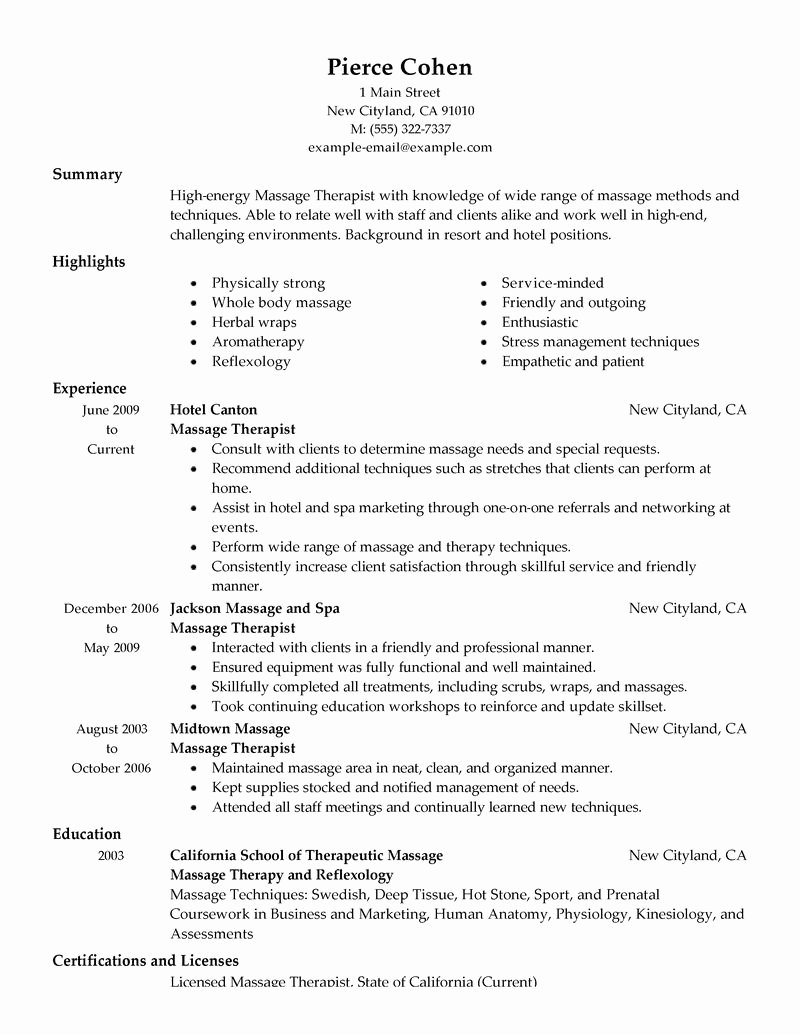 Best Massage therapist Resume Example