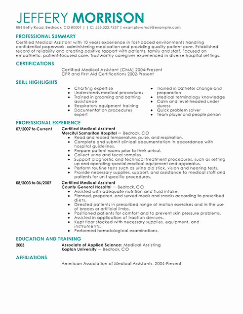 Best Medical assistant Resume Example