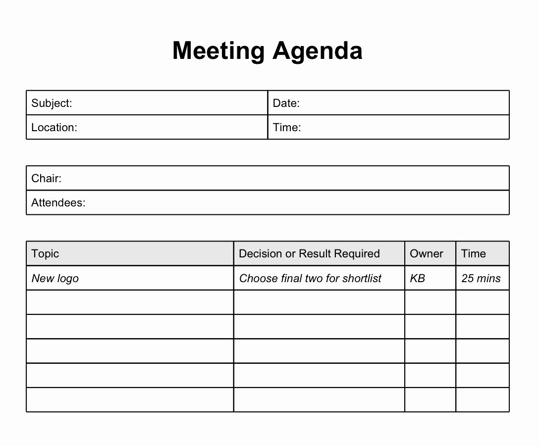 Best Meeting Agenda Template Mughals