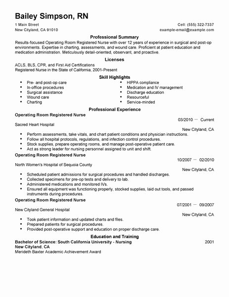 Best Operating Room Registered Nurse Resume Example