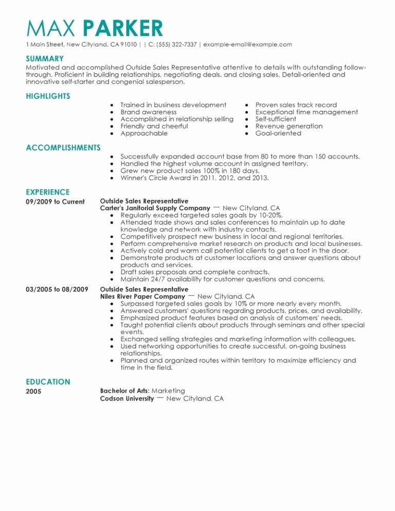 Best Outside Sales Representative Resume Example