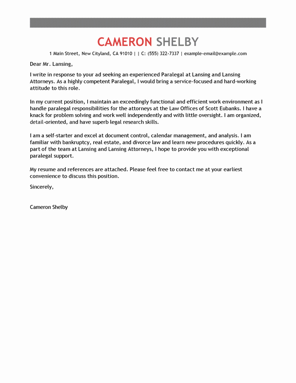 Best Paralegal Cover Letter Examples