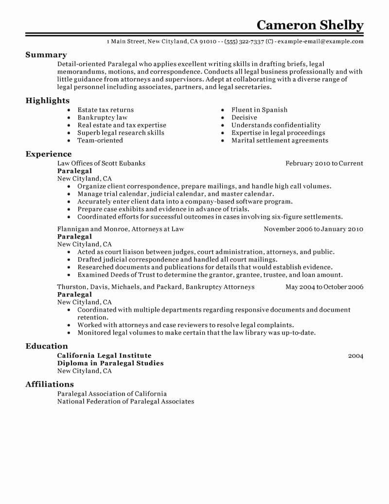 Best Paralegal Resume Example