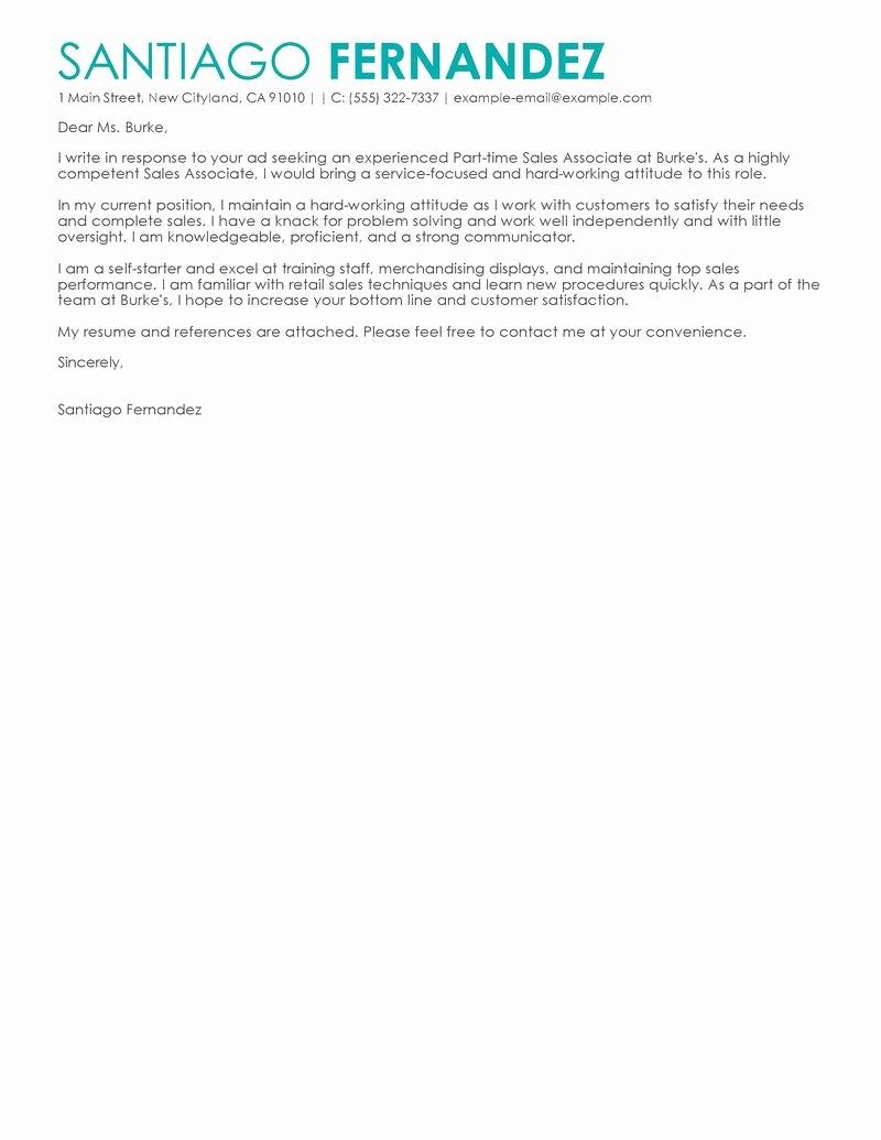 Best Part Time Sales associates Cover Letter Examples