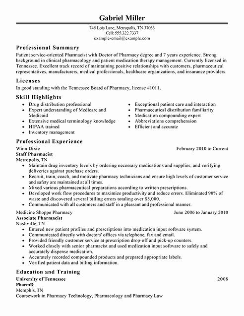Best Pharmacist Resume Example