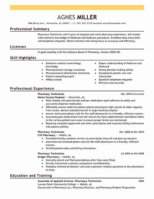 Best Pharmacy Technician Resume Example