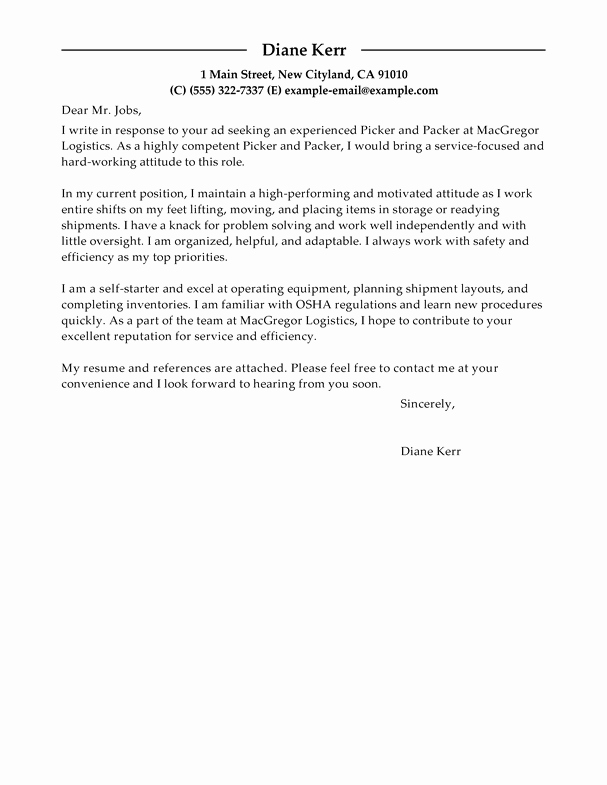 Best Picker and Packer Cover Letter Examples