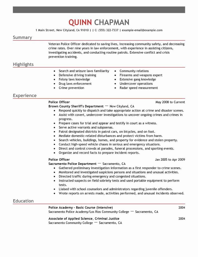 Best Police Ficer Resume Example