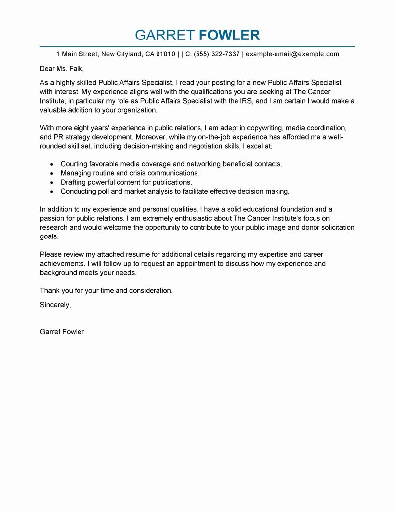 Best Public Affairs Specialist Cover Letter Examples
