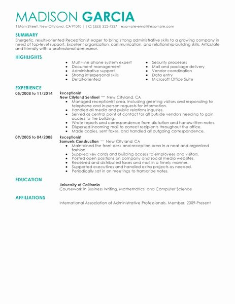 Best Receptionist Resume Example