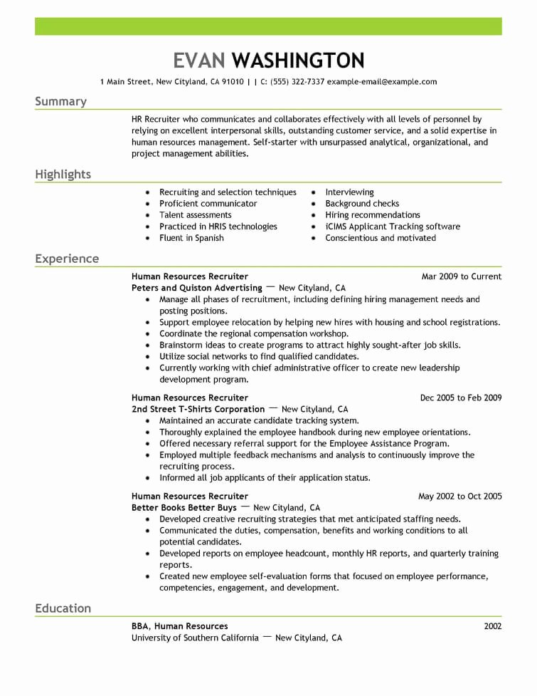 Best Recruiting and Employment Resume Example